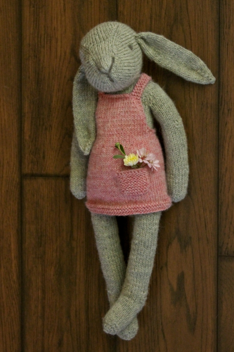 """Claire the Hare"" PDF knitting pattern softie plush toy ragdoll by Rhonda Potteet of Thread Bears®"