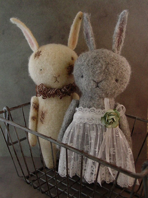 The Felted Hare And The Felted Bear Out Of The Thistle