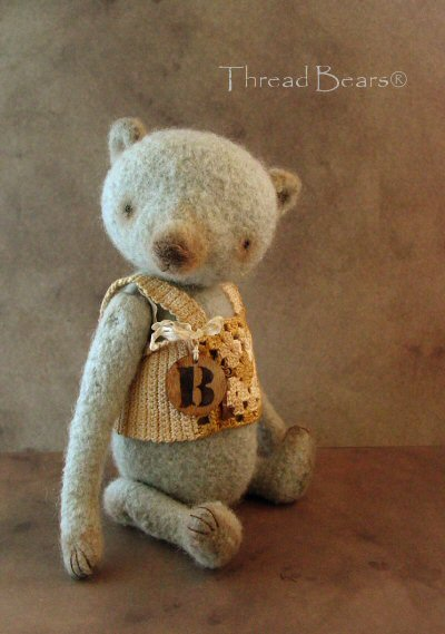 Felted, fulled blue bear5 by Sue Aucoin Thread Bears®