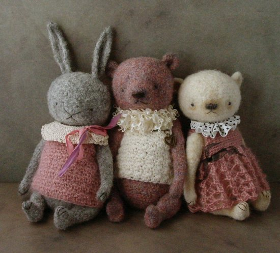 Shrunken wool trio crocheted artist dolls and bears Out of the Thistle Blog outofthethistle