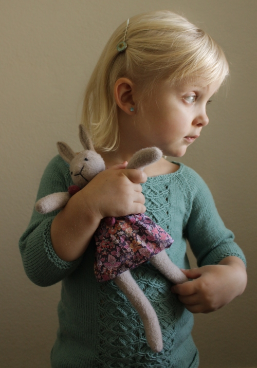 Out of the Thistle® Knitted wool bunny dolls